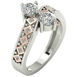 Forever Us 2 Stone Solitaire Engagement Ring Round Diamond I1 G 1.15 Ct 14K Gold