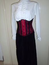 RED AND BLACK LACE VICTORIAN GOTHIC UNDERBUST STEEL CORSET SIZE 26 IN 10 TO 12