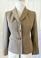 Le Suit Women Blazer Jacket Business Brown Pockets 3 Button Size 2P New