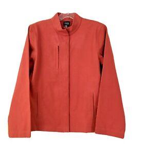 Eileen Fisher Jacket Burnt Orange Snap Closure Cotton Spandex Pockets Size M