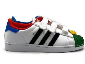 Adidas Superstar Lego CF Boy Girl Big Kids Shoe White Casual School Sneaker