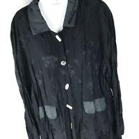 Gantos Vintage Floral Silky Black Button-Down Long Sleeve Blouse Tunic Sz L
