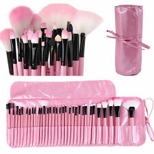 Professional 32 Pcs Kabuki Make Up Brush Set and Cosmetic Brushes With Pink Case