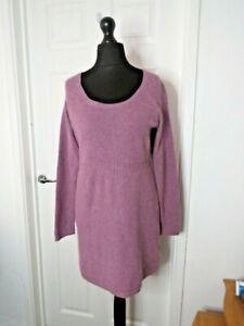Fat Face Purple Short Knitted Cotton Jumper Dress Tunic Long Sleeve Size 12