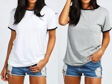 Womens Ladies Alicia Contrast Neck Cuff Crew Neck Short Sleeve T-Shirt