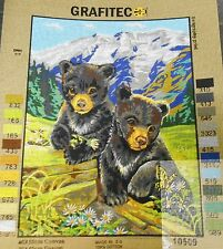 BEAR CUBS IN SPRING - Tapestry/Needlepoint Canvas (NEW) by GRAFITEC