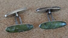 Vintage Continental Sterling Silver & Jade Set Cufflinks oval Shaped Nice qualit