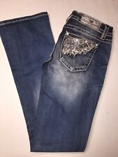 Miss Me Sz 25 Signature Boot Stretch Embroidered Rhinestone Wing Jean J3252b