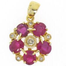 14k Yellow Gold Flower Pendant 2.10ctw Oval Blood Red Rubies Bezel Set Diamonds