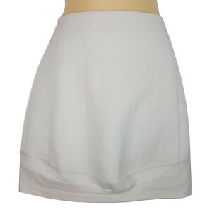 TOPSHOP White Geometric Textured A-Line Skirt Work Officewear Business Cocktail