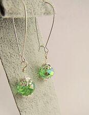 Green AB  Glass Drop Earrings 5,5cm long Silver Plated Handmade Jewellery