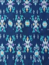 HAND WOVEN BLUE, GRAY, AQUA 100% COTTON IKAT FABRIC BY THE YARD