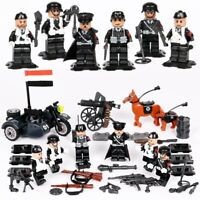 WWII Army Military Soldiers Ger Motorbike Sidecar WW2 MiniFigures Set Fit Lego