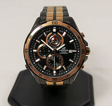 CASIO EDIFICE BLACK AND ROSE GOLD STAINLESS STEEL EFR-547BKG-1AVUEF MEN'S WATCH