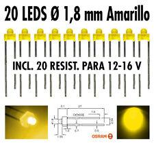 20 x Led AMARILLO  Ø 1,8 mm + resistencias para 12 V + tutorial leds. NUEVOS !!