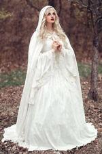 Renaissance Celtic Medieval Lace Wedding Dresses Bridal Gowns With Cloak Custom