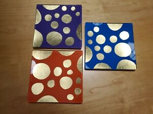 Set Of 3 1960's -70's Square Glass Appetizer Plates Gold Foil Floating Dots HTF