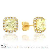 1.85Ct Created Diamond Green Peridot Square Halo Stud Earrings 14K Yellow Gold