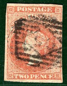 SOUTH AUSTRALIA QV Stamp SG.7 2d Orange-Red (1858) Used Numeral Cat £80+ EBLUE62