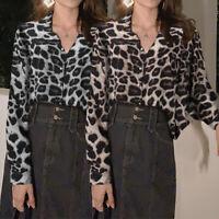 UK Women Leopard Print Long Sleeve Shirt Tops Ladies Loose Work Blouse Plus Size