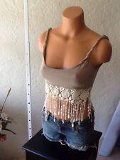 ALIA BLUE Crop top Crochet Border Authentic  Tan Beige Small NWOT$99