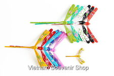 Lot of 100 Hand Carved Painted Self Balancing Bamboo Dragonfly Decoration 20cm