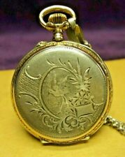 "1880s Swiss Silver w/Gold 32mm (1-1/4"") Womens Necklace Pendant Pocket watch"
