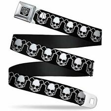 20-36 Inches in Length 1.0 Wide Skulls /& Stars Black//White//Blue Buckle-Down Seatbelt Belt