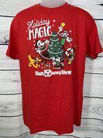 Disney World Christmas Holiday Magic Mickey Mouse Goofy Red T-Shirt Size Medium