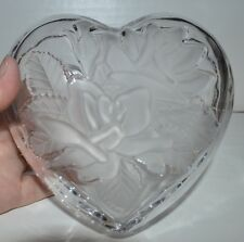 Home Beautiful Japan Glass Heart Lidded Trinket Box Candy Dish w/Frosted Roses