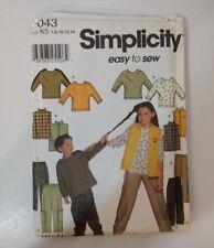 Simplicity 7043 Size 7-14 Girls' Boys' Vest Pants Knit Top