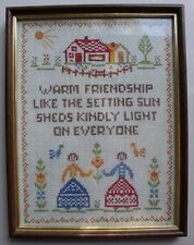 """New listing Vintage Sampler """"Warm Friendship"""" Embroidery Needlepoint Completed Finished"""