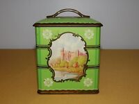 "VINTAGE  5 1/2"" HIGH OLD CASTLE GREEN  CANDY METAL TIN *EMPTY*"