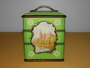 """VINTAGE  5 1/2"""" HIGH OLD CASTLE GREEN  CANDY METAL TIN *EMPTY*"""