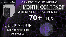 70 TH/s 1 Month Antminer Rental S17+ CLOUD MINING Contract Bitcoin Hashing 30Day