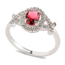 Luxury Engagement Wedding Platinum Plated Red Ring medium size O 17 mm FR161