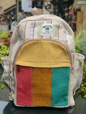 Hemp Bagpack natural stripe multicolor handmade organic sustainable vegan bag.