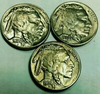 2-1936-P & 1936-S Buffalo Nickel Gold Toned Beauty Looks Great 5 Cents US Coin*
