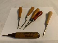 Lot of 6 Rug Hooks and Quilt Tool Estate Find Vintage