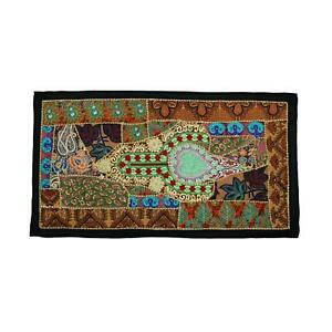 Vintage Embroidered Patchwork Indian Head Board Bohemian Tapestry Wall Hanging