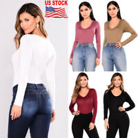 Women's Basic Long Sleeve Solid Top Slim Fit Shirts T-Shirt Stretch Tight V-Neck