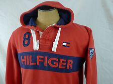 Tommy Hilfiger Spell Out #8 Flag Hoodie Red Blue Rugby Pullover Shirt  L Hip Hop