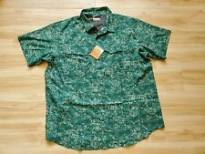 NWT Mens Columbia SZ L Silver Ridge Lite Plaid Short sleeve Camo Print MSRP$55