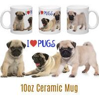 I Love Pugs Pug Mug Personalised 10oz Ceramic Mug Birthday Christmas