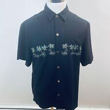 Island Republic Shirt L Large Black Palm Trees Button Front Short  Sleeve D84