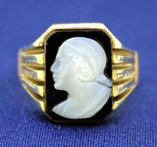 CAMEO SOLITAIRE RING SOLID 10 K GOLD 7.6 g SIZE 10