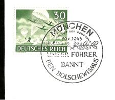 1943 Nazi Germany Wehrmacht Paratroopers Stamp Postmarked on Hitler 54 Birthday
