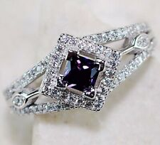 1CT Amethyst & White Topaz 925 Solid Sterling Silver Ring Jewelry Sz 7