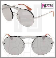 2eef69f936 PRADA CINEMA ROUND Brow Bar Sunglasses 65T Silver Shiny MIrror Unisex PR65TS