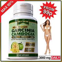 GARCINIA CAPSULES Natural Weight Loss Fat Burner Diet Pills Slimming Max 95%
